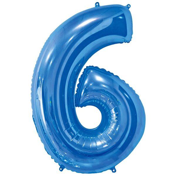 Фольгированный шар в форме цифры шесть голубого цвета. Размер - 66 см.
