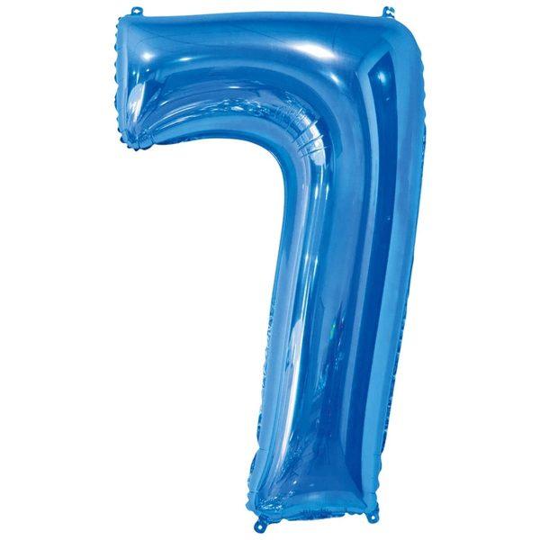 Фольгированный шар в форме цифры семь голубого цвета. Размер - 66 см.