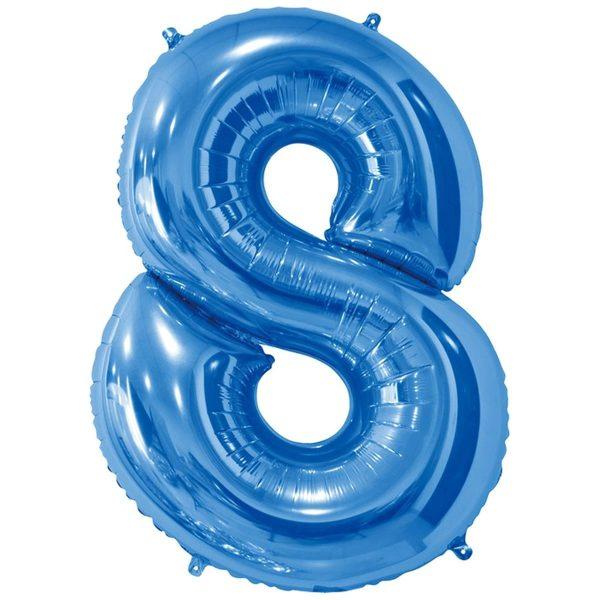 Фольгированный шар в форме цифры восемь голубого цвета. Размер - 66 см.