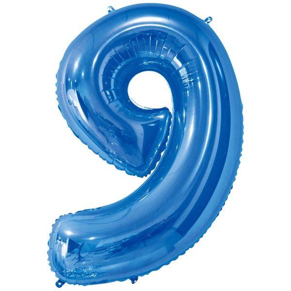 Фольгированный шар в форме цифры девять голубого цвета. Размер - 66 см.
