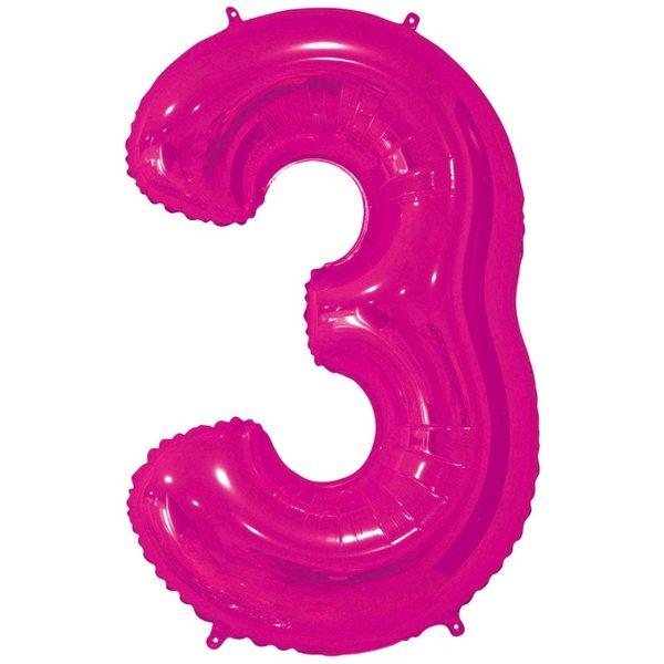 Фольгированный шар в форме цифры три малинового цвета. Размер - 66 см.