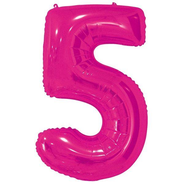 Фольгированный шар в форме цифры пять малинового цвета. Размер - 66 см.