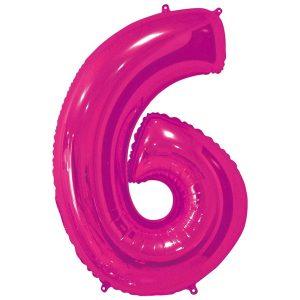 Фольгированный шар в форме цифры шесть малинового цвета. Размер - 66 см.