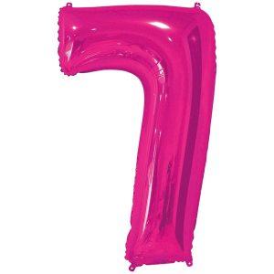 Фольгированный шар в форме цифры семь малинового цвета. Размер - 66 см.
