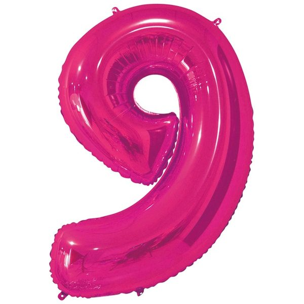 Фольгированный шар в форме цифры девять малинового цвета. Размер - 66 см.