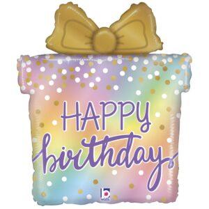 """Фольгированный шар в форме подарочной коробки с золотистым бантом и надписью """"Happy Birthday!"""""""