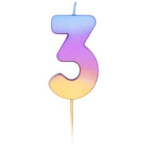 """Свеча -цифра """"3"""" Омбре радужное"""