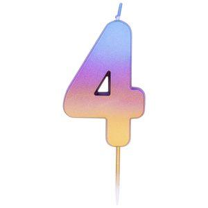 """Свеча -цифра """"4"""" Омбре радужное"""