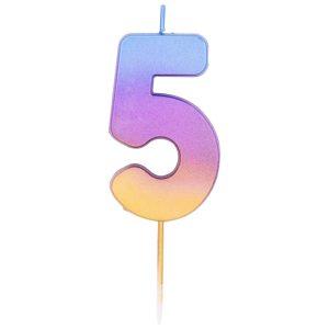 """Свеча -цифра """"5"""" Омбре радужное"""