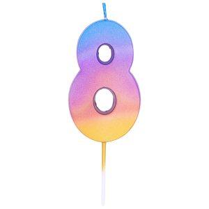 """Свеча -цифра """"8"""" Омбре радужное"""