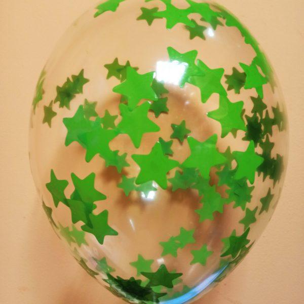 прозрачный шар с зелеными звездами