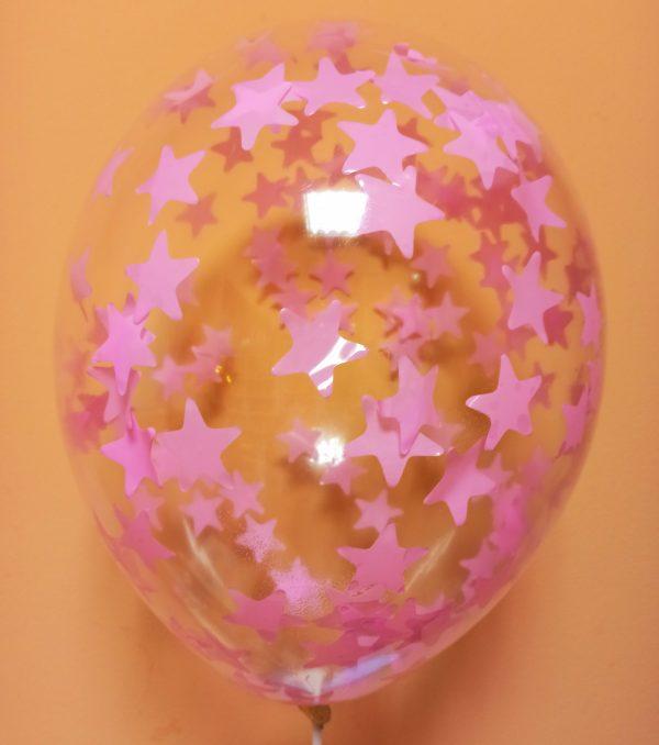 прозрачный Шарик с розовыми звёздами