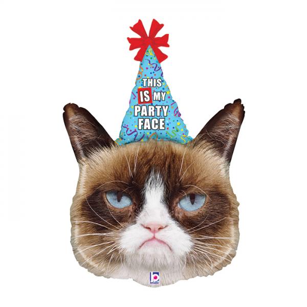 Фольгированный шар в виде фигуры грустного кота на праздник. Размер 91 см.