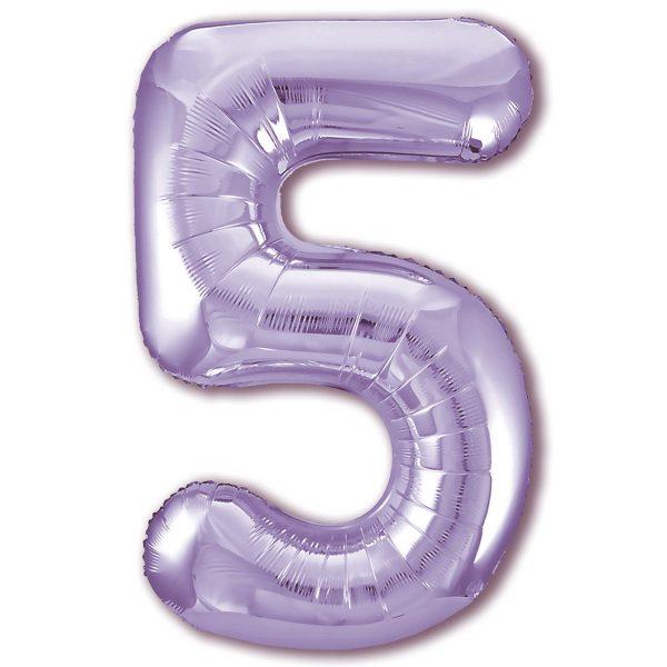 Большой фольгированный шар в форме цифры пять фиолетового цвета.