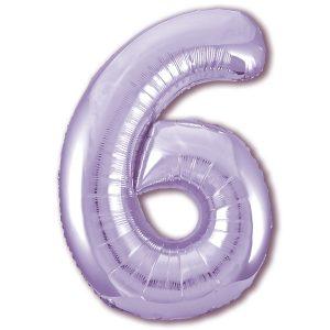 Большой фольгированный шар в форме цифры шесть фиолетового цвета. .