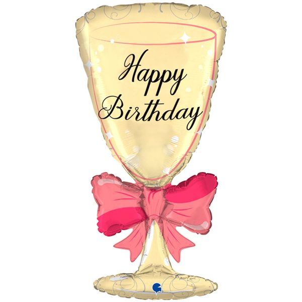 """Большой фольгированный шар в форме бокала с бантом и надписью """"Happy Birthday"""""""