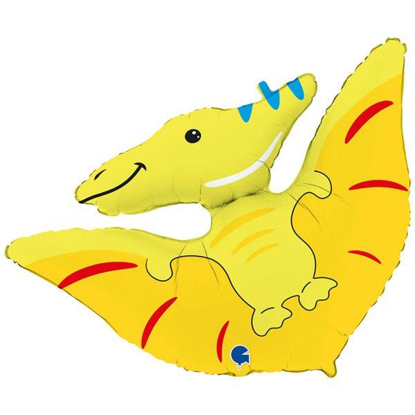 фольгированный шар в форме птеродактиля желтого цвета