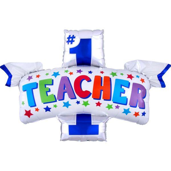 """фольгированный шар в виде ленты с надписью """"Teacher #1"""""""
