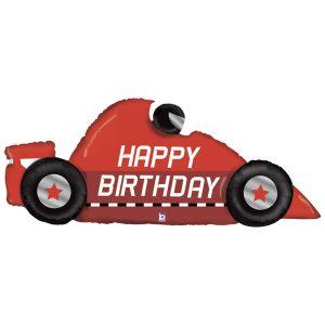 """Фольгированный шар в форме гоночной машины красного цвета с надписью """"Happy Birthday"""""""