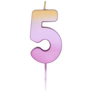 "Свеча -цифра ""5"" Омбре розово-золотое"