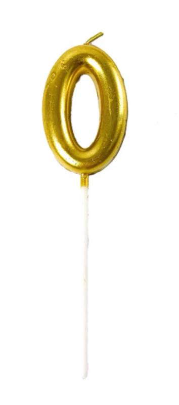 """Декоративная свеча в торт в виде цифры """"0"""" золотистого цвета на палочке Высота цифры: 6см + палочка"""