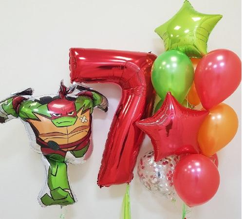 Букет из воздушных шаров с Черепашкой ниндзя