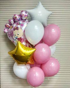 Букет из шаров для новорожденной девочки