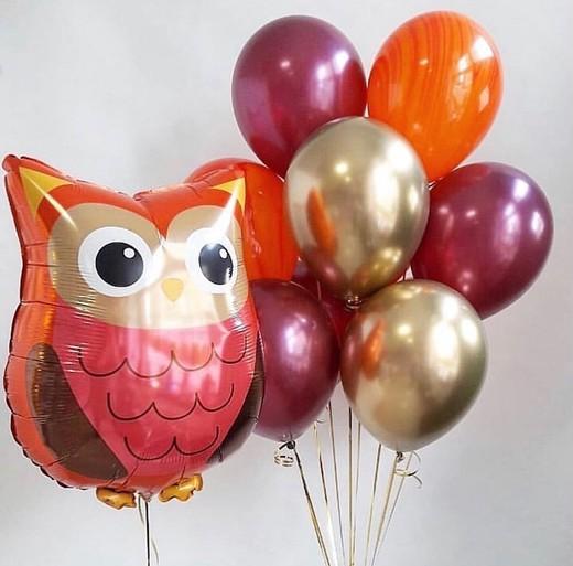 Букет из воздушных шаров с совой