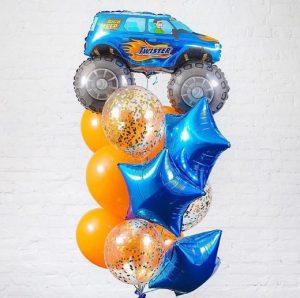 Букет из воздушных шаров с Внедорожником
