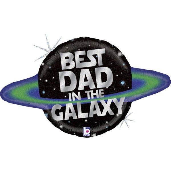 """Фольгированный шар в форме планеты с надписью """"Best dad in the galaxy"""""""