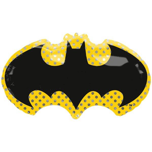 Фольгированный шар в форме эмблемы супергероя Бэтмена.