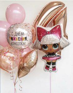 Букет с куколкой лол из воздушных шаров