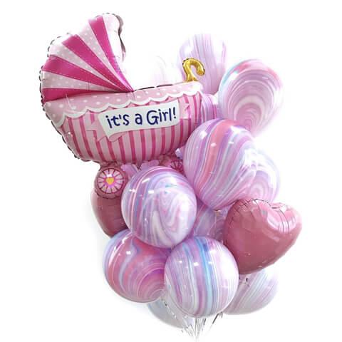 Букет из воздушных шаров с коляской