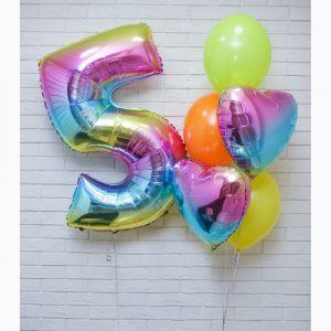 Букет из воздушных шаров с Цифрой 5