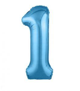 """Фольгированные шары-цифры Слим голубой """"1"""" Размер 102 см."""