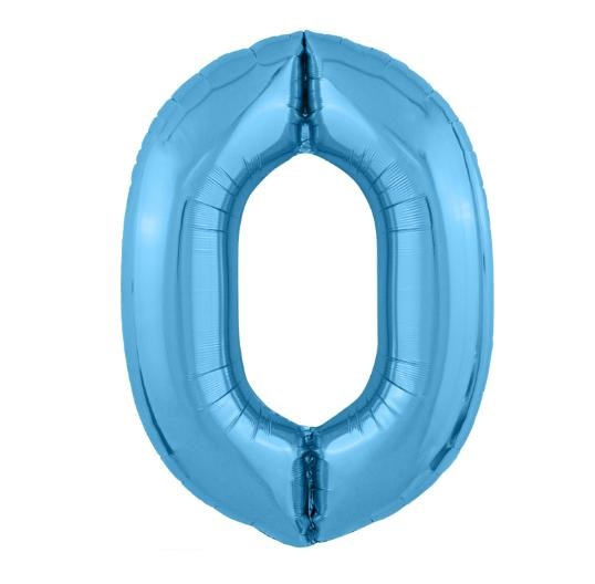 """Фольгированные шары-цифры Слим голубой """"0"""" Размер 102 см."""