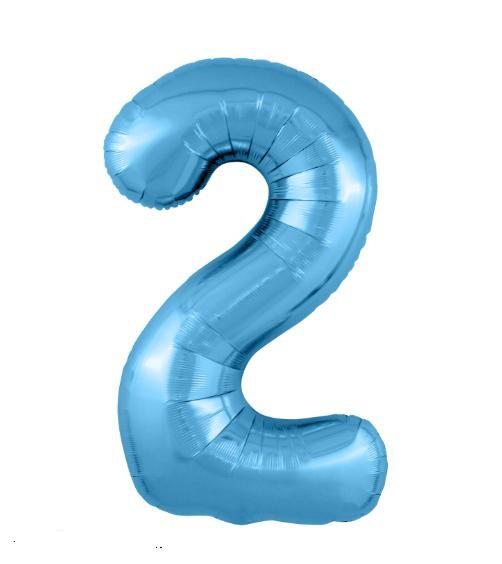 """Фольгированные шары-цифры Слим голубой """"2"""" Размер 102 см."""