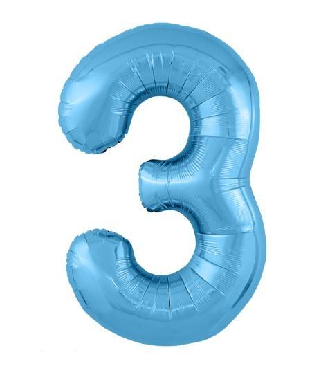 """Фольгированные шары-цифры Слим голубой """"3"""" Размер 102 см."""