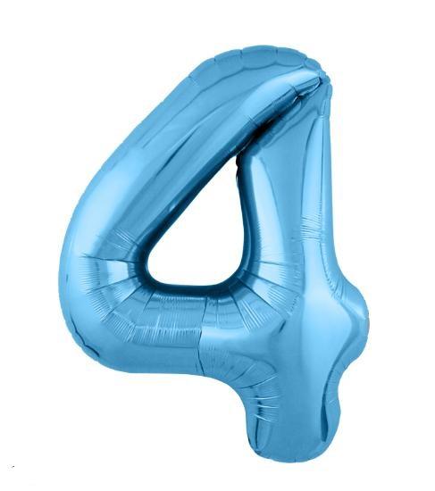 """Фольгированные шары-цифры Слим голубой """"4"""" Размер 102 см."""