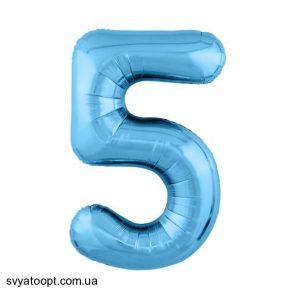 """Фольгированные шары-цифры Слим голубой """"5"""" Размер 102 см."""