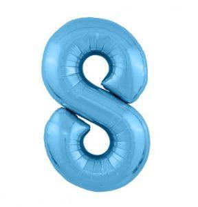 """Фольгированные шары-цифры Слим голубой """"8"""" Размер 102 см."""