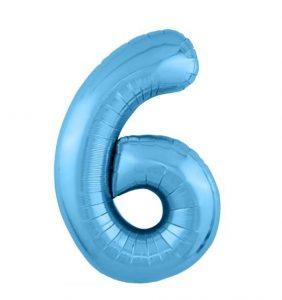 """Фольгированные шары-цифры Слим голубой """"6"""" Размер 102 см."""