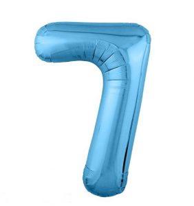 """Фольгированные шары-цифры Слим голубой """"7"""" Размер 102 см."""