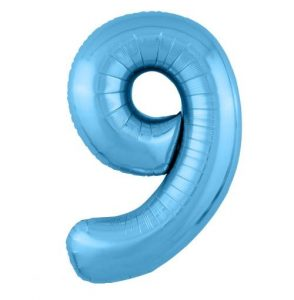 """Фольгированные шары-цифры Слим голубой """"9"""" Размер 102 см."""