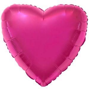 Фольгированное сердце малиновое.