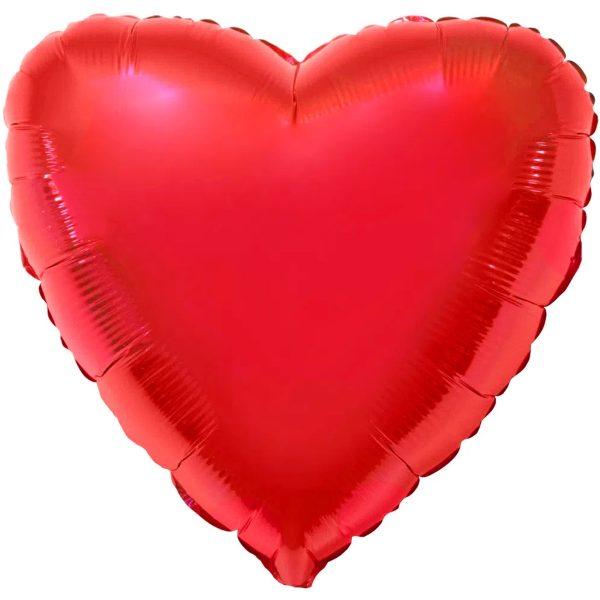Фольгированное сердце красное.