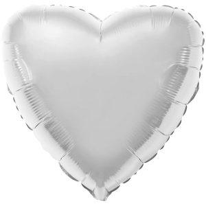 Фольгированное сердце серебряное.