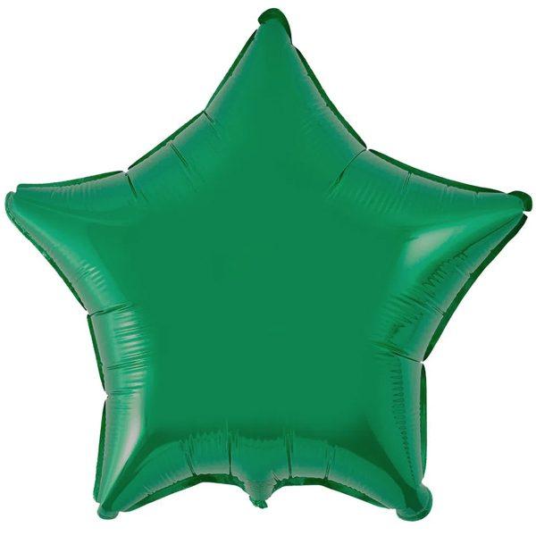 Одноцветная фольгированная зеленая звезда