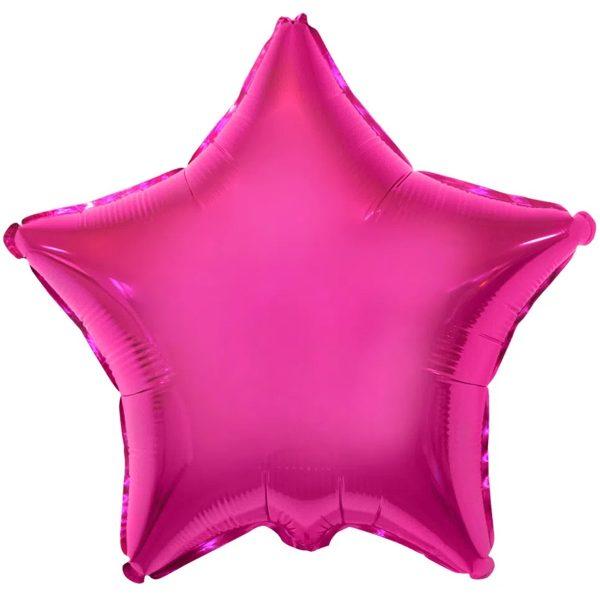 Одноцветная фольгированная звезда малинового цвета