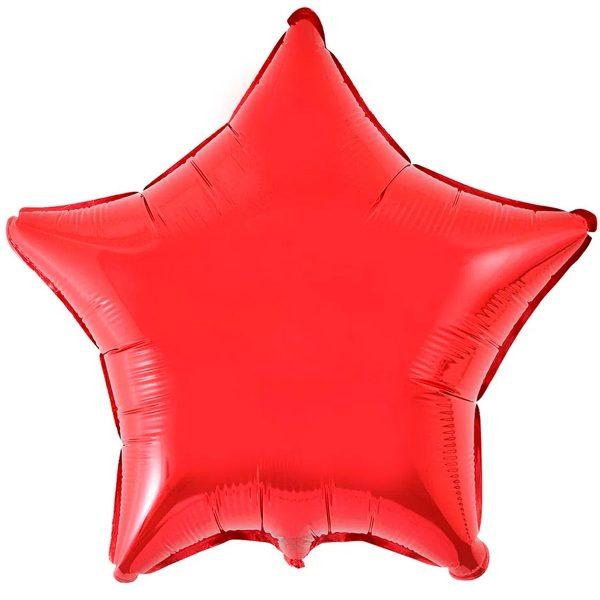 Фольгированная звезда красного цвета без рисунка
